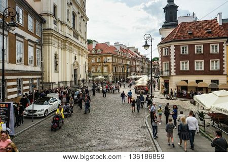 Warsaw, Poland - 20 June 2015: view on a street in okd part of Warsaw downtown