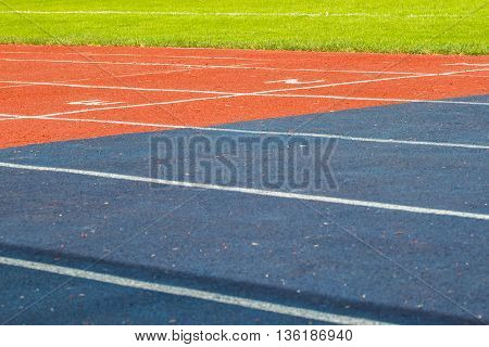 Starting of stadium track for a sprint. Fitness, healthy lifestyle concept