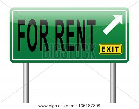 for rent house car or apartment road sign