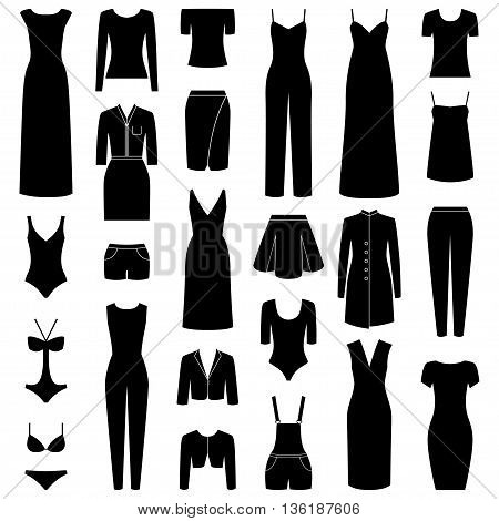 Set of woman clothes icons, vector illustration