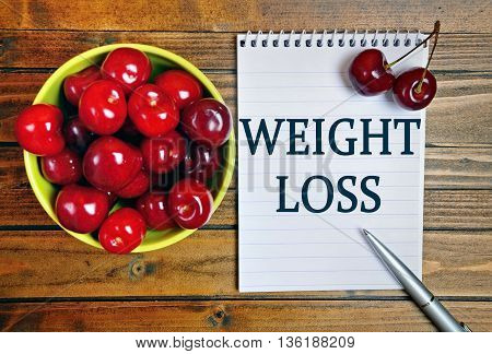 The words Weight loss on notebook page