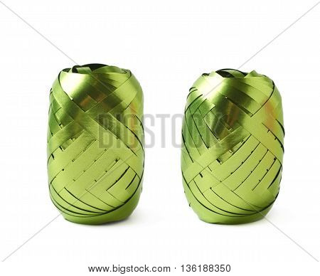 Glossy green ribbon reel isolated over the white background, set collection of two diffirent foreshortenings