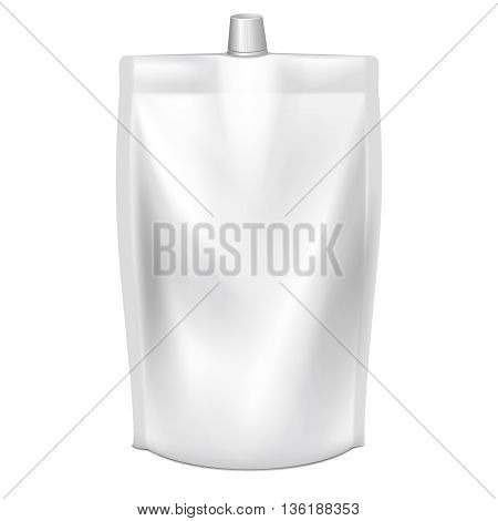 Doypack vector. Blank doy pack with spout lid. Liquid product doypack, template doypack with lid, clear container doypack illustration