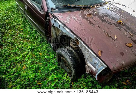 Scrapyard with old purple destroyed car in grass