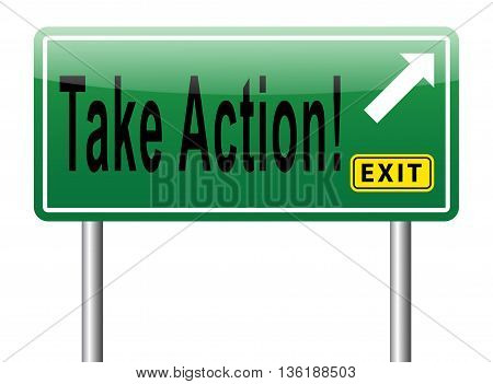 take action time act now road sign