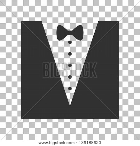 Tuxedo with bow silhouette. Dark gray icon on transparent background.