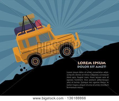 Abstract background with Off-road vehicle, vector illustration