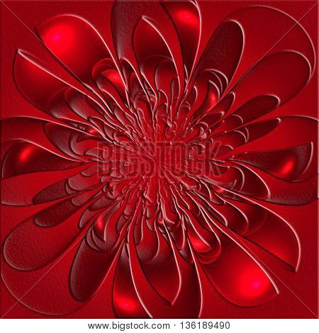 Beautiful lush fractal flower with embossed effect. Artwork for creative design art and entertainment.