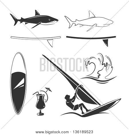 Vector elements for surfing labels, logos and emblems. Badge surfing, vintage swim surfing, wave surfing illustration