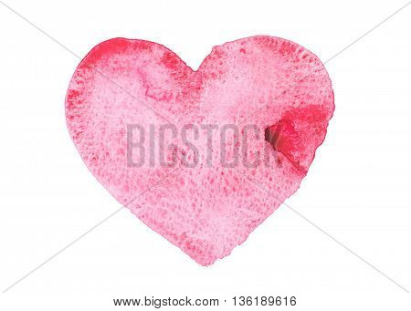 Hand drawn watercolor heart isolated on a white background.