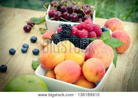 Selective focus on bramble(brambleberry, bramle berry) - fresh organic fruits