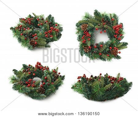Christmas decorational fir wreath isolated over the white background, set of four different foreshortenings