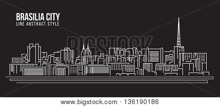 Cityscape Building Line art Vector Illustration design - Brasilia city