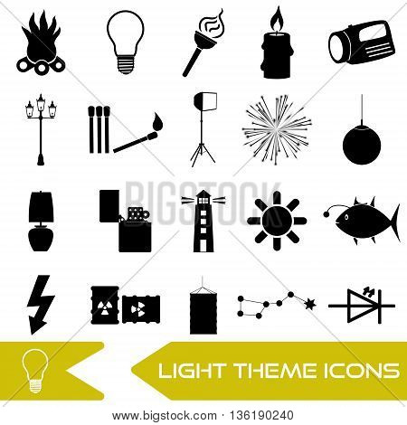 Light Theme Modern Simple Black Icons Light Source Eps10
