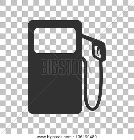 Gas pump sign. Dark gray icon on transparent background.