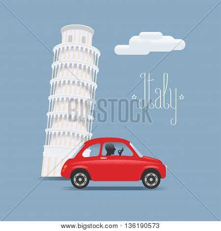 Travel to Italy vector illustration. Design element, icons with Italian Pisa tower and small car