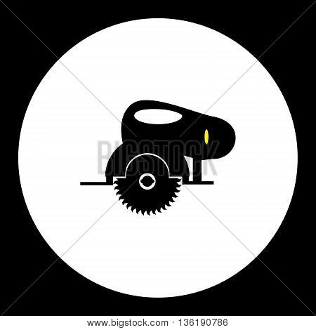 Black Circular Saw Motor Saw Simple Isolated Icon Eps10