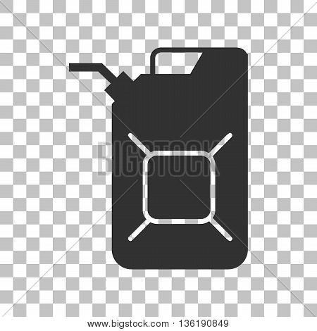 Jerrycan oil sign. Jerry can oil sign. Dark gray icon on transparent background.