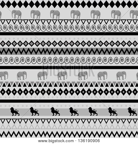 Hand drawn seamless pattern with safari style.