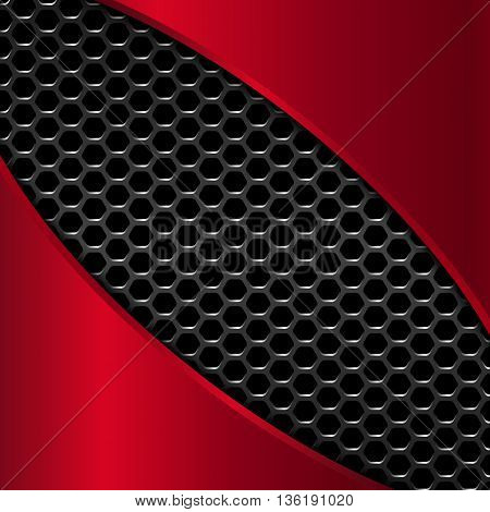 Geometric pattern of hexagons with red metal plates, Vector Illustration
