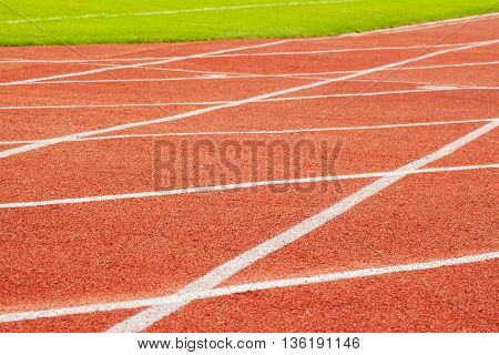 Running track in stadium, fitness, healthy lifestyle concept