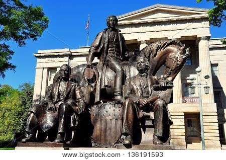 Raleigh North Carolina - April 18 2016: Three Presidents Sculpture (James K. Polk Andrew Jackson and Andrew Johnson) at the North Carolina State Capitol Building  *