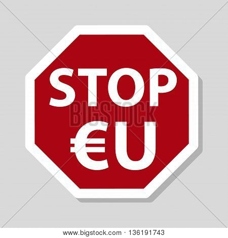 Color Stop European Union Sign Eu With Euro Currency Symbol Eps10