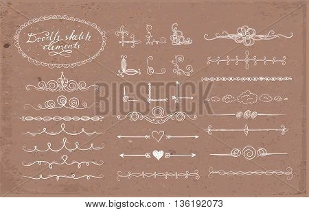 Set of doodle sketch decorative dividers, corners, text frames and borders isolated on brown parcel paper background. Vector illustration.