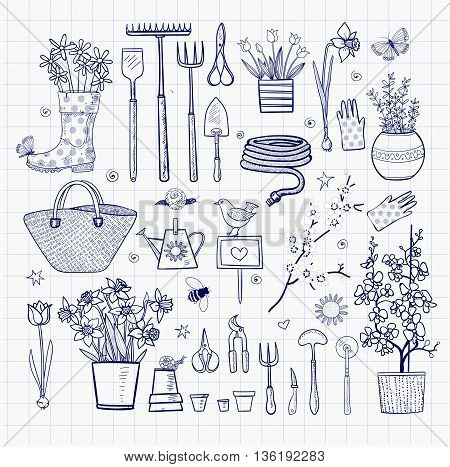 Big set of hand-drawn sketch garden elements - gardening tools. straw hat, flowers in pots etc