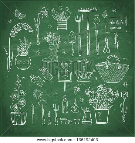 Big set of hand-drawn sketch garden elements - gardening tools. straw hat, flowers in pots on blackboard background.
