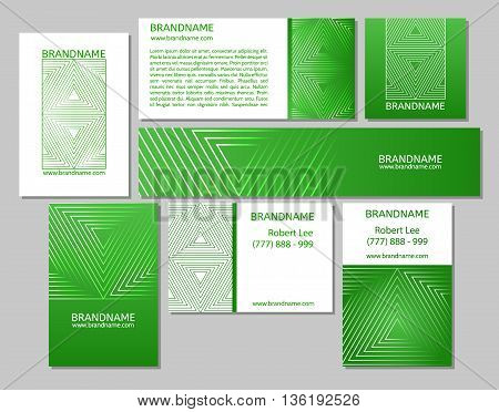Vector set of business cards flayers banners with triangle pattern on a green eco background. Modern abstract style linear ornament.