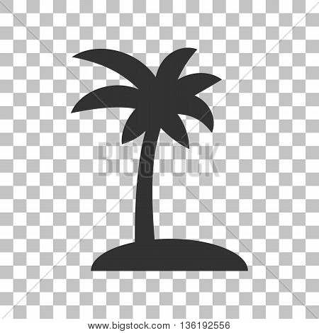 Coconut palm tree sign. Dark gray icon on transparent background.