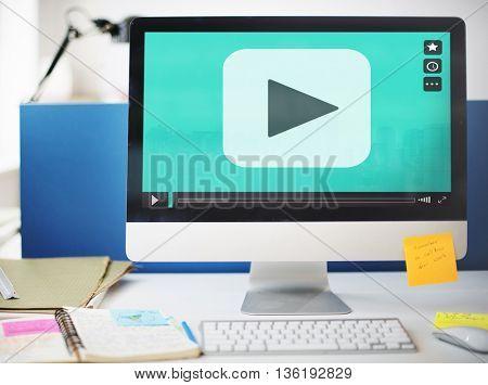 Play Button Movie Clip Stream Media Concept