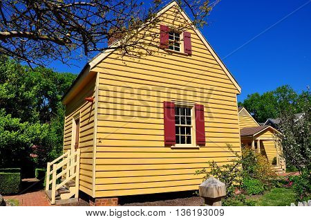 Raleigh North Carolina - April 18 2016: 1779 wooden clapboard outer dependency building at the Joel Lane House Museum - Xu Lei Photo
