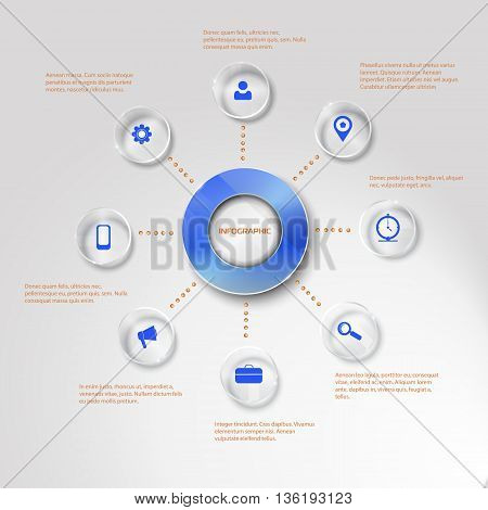 Vector circle buttons for infographic. Template for presentation. Business concept with 8 options, parts, steps or processes. round elements with glass surface