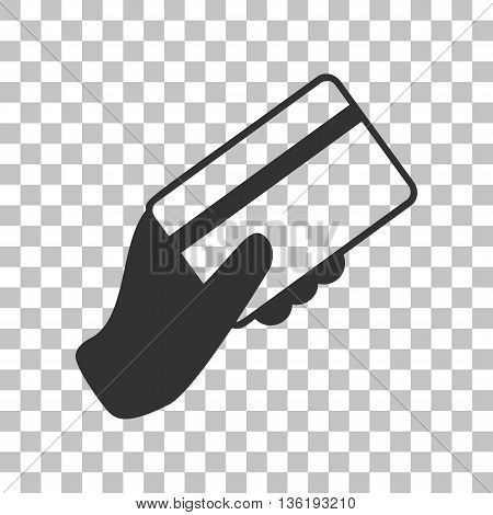 Hand holding a credit card. Dark gray icon on transparent background.