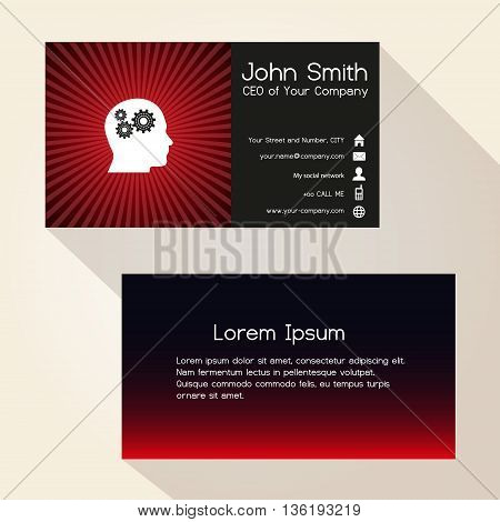 Simple Color Gradient And Stripes Wheel Red Business Card Design Eps10