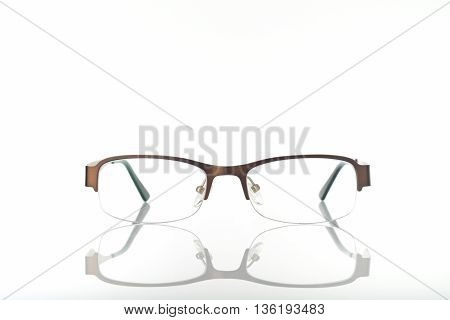 Eyeglasses with Metal Frame on White Background