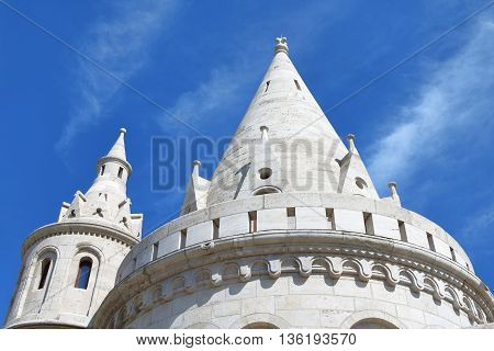 Conical rooftops of Fisherman's Bastion on Buda Hill Budapest Hungary