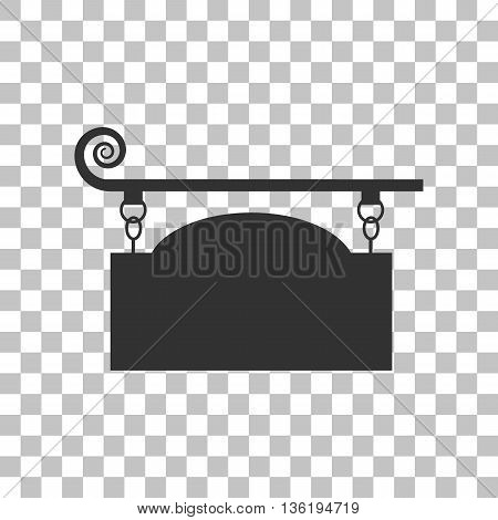 Wrought iron sign for old-fashioned design. Dark gray icon on transparent background.