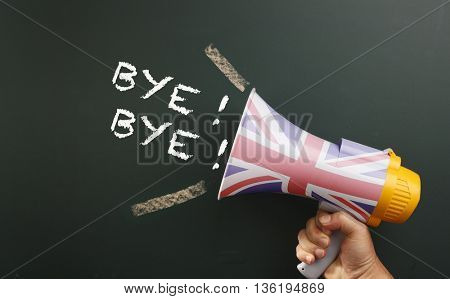 megaphone in front chalkboard with text bye bye