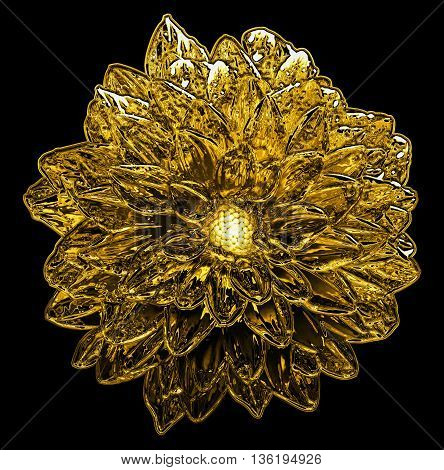 Surreal Golden Metal Chrome Flower Dahlia Macro Isolated On Black