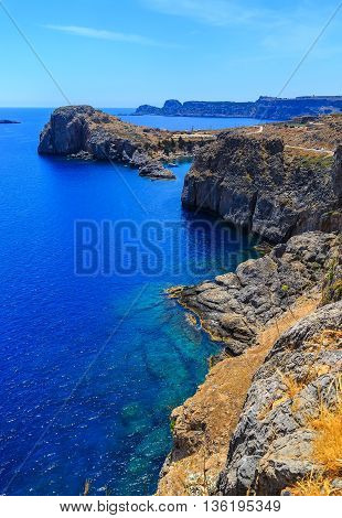 Aerial View at Saint Paul Bay from Lindos Rhodes island,