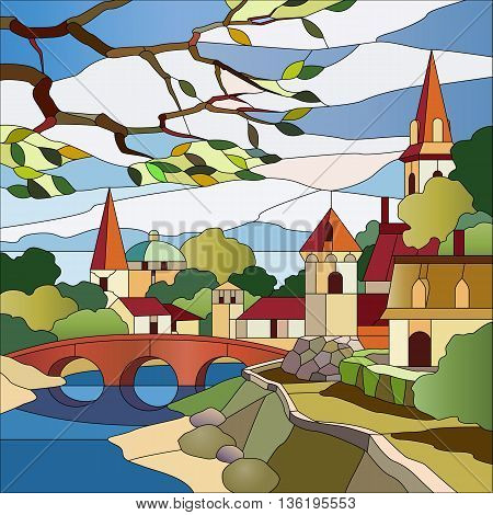 Stained glass window landscape with river and houses