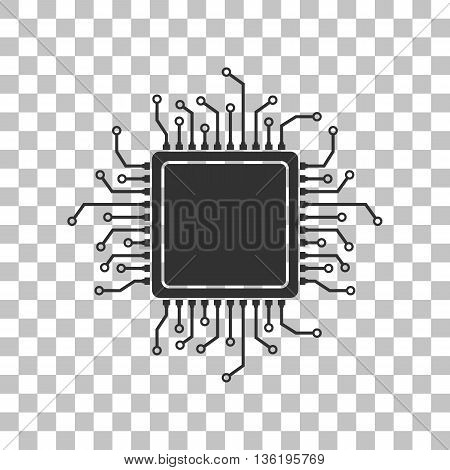 CPU Microprocessor illustration. Dark gray icon on transparent background.
