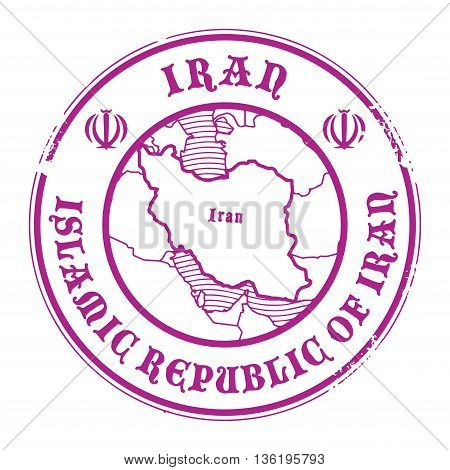 Grunge rubber stamp with the name and map of Iran, vector illustration