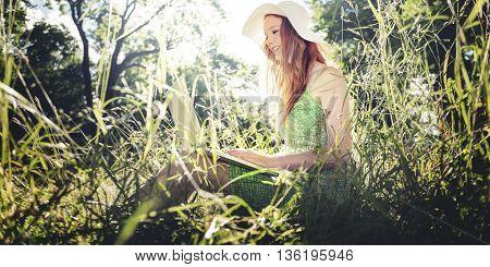 Woman Using Laptop Leisure Activity Nature Park Concept