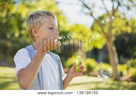 Cute young boy blowing bubbles through bubble wand in park