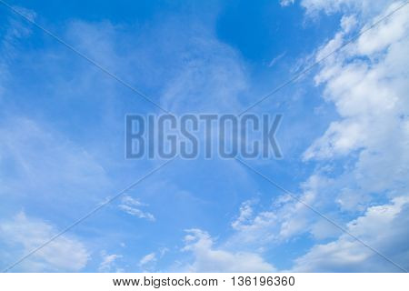 Blue Sky And Clouds. peaceful sky and cloud in good weather day..