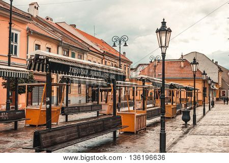 Kosice, Slovakia - July 09, 2015: Kosice street in city center after rain